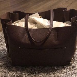 Ann Taylor Brown Expandable Tote